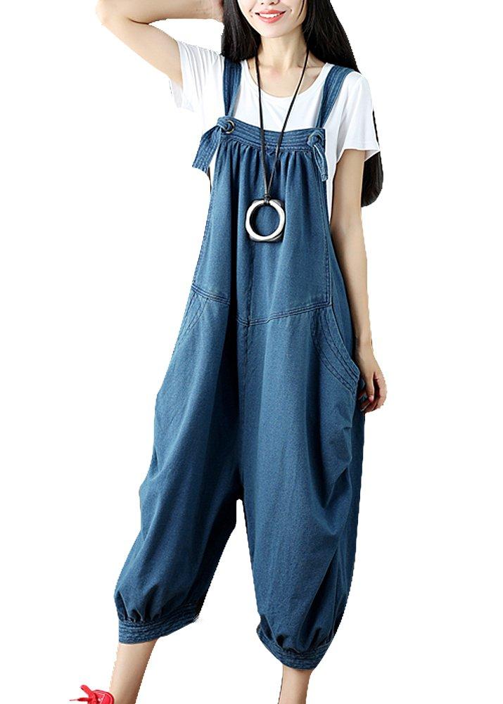 IDEALSANXUN Women's Plus Size Baggy Casual Overalls Denim Jumpsuits Wide Leg Loose Pants (One Size(S-L), 1-Blue)