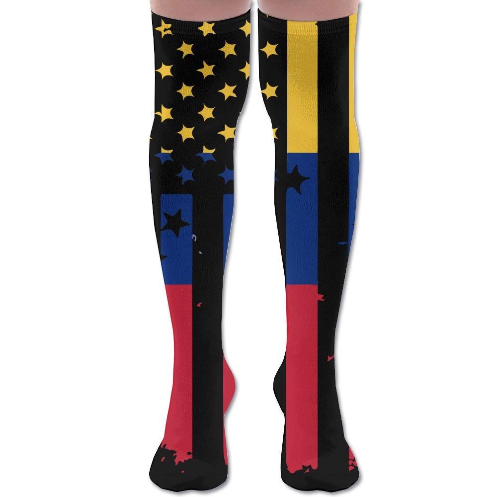 American Venezuelan Flag Distress Unisex Athlete Over Knee High Socks Sport Football Soccer Tube Socks