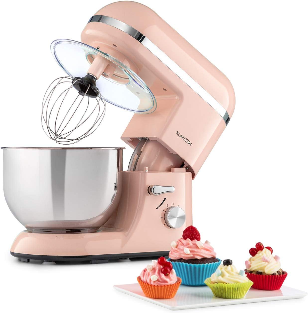 Klarstein Bella Elegance - Robot de cocina, Potencia 1300W/1,7PS, 6 niveles, Función pulso, Sistema de amasado planetario, 5 L, Cuenco acero inoxidable, Inclinación, Bloqueo de seguridad, Rosa