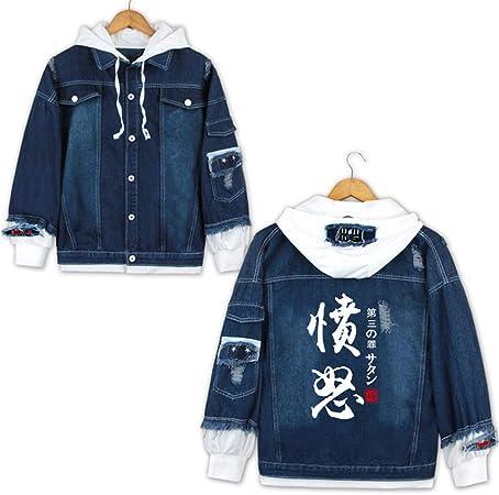 Cosstars The Seven Deadly Sins Anime Veste en Jean Adulte Cosplay Denim Manteaux /à Capuche Casual Outwear Coat
