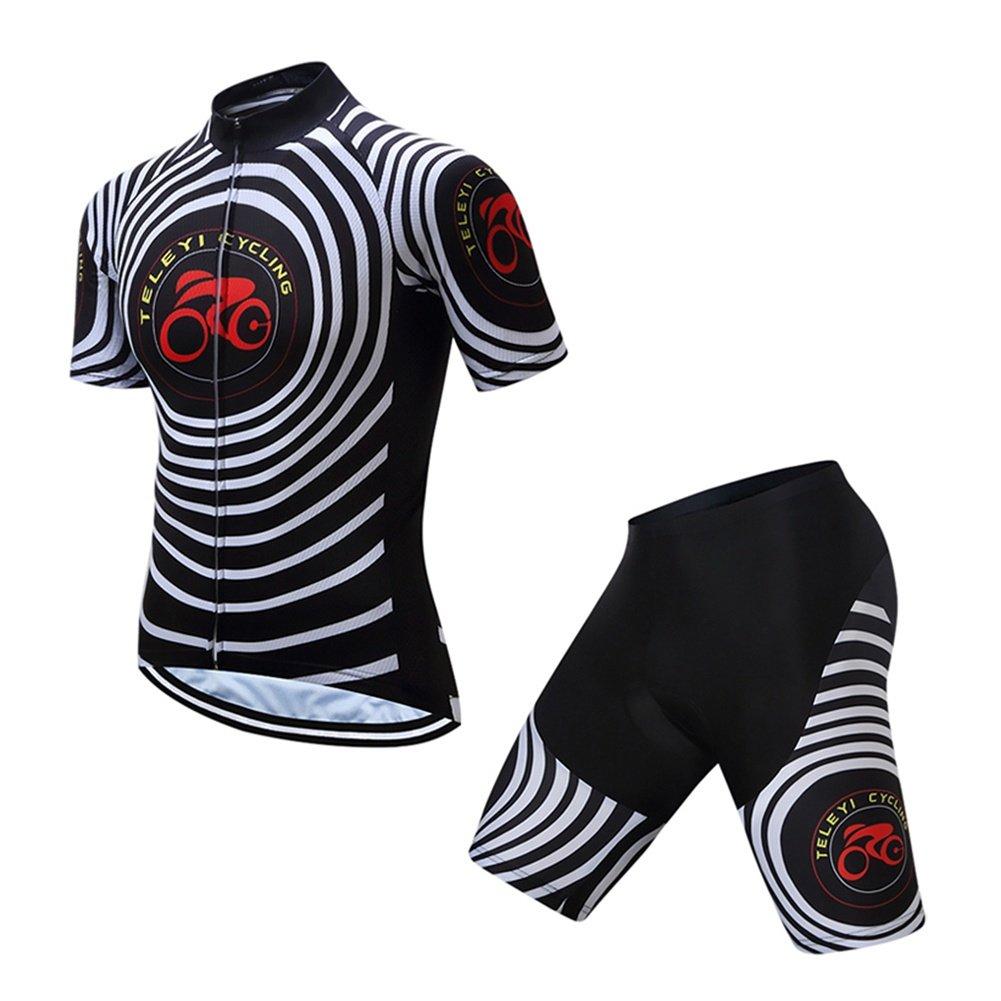 Trägerhose Herren Kurzarm-Radtrikot mit Bib Shorts - Schwarz Bike Gepolsterte Shorts/Chamois Bekleidung Anzüge, Atmungsaktiv, 3D