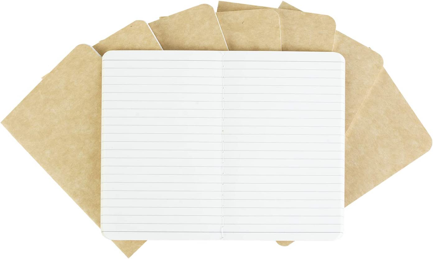 Pocket Notebook Kraft Softcover Set 3.5 x 5.5 Inches Memo Book 8 Pack Perfect for the Traveler or Author