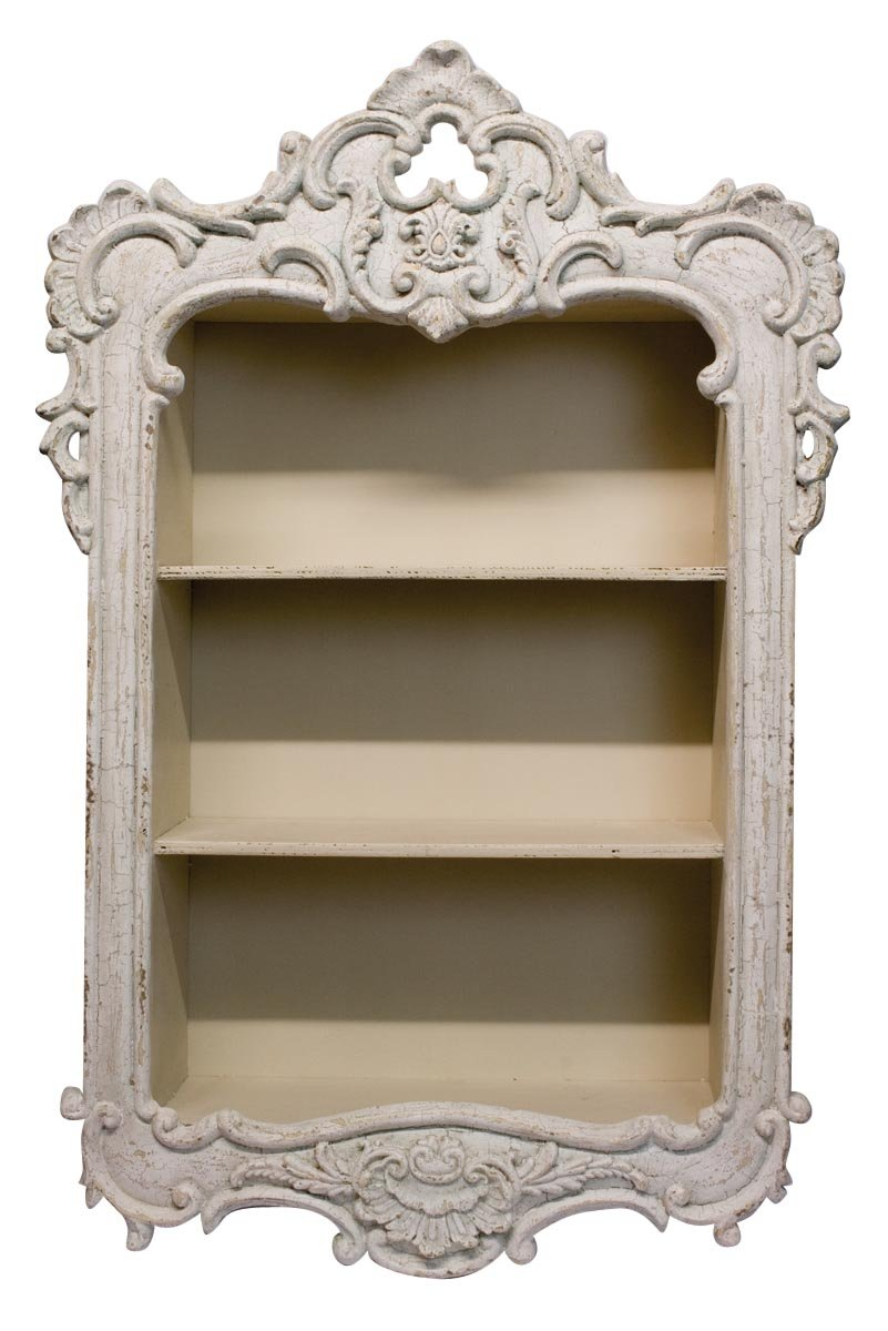 Antique white french country style carved wall shelf display unit antique white french country style carved wall shelf display unit shabby chic amazon kitchen home amipublicfo Gallery