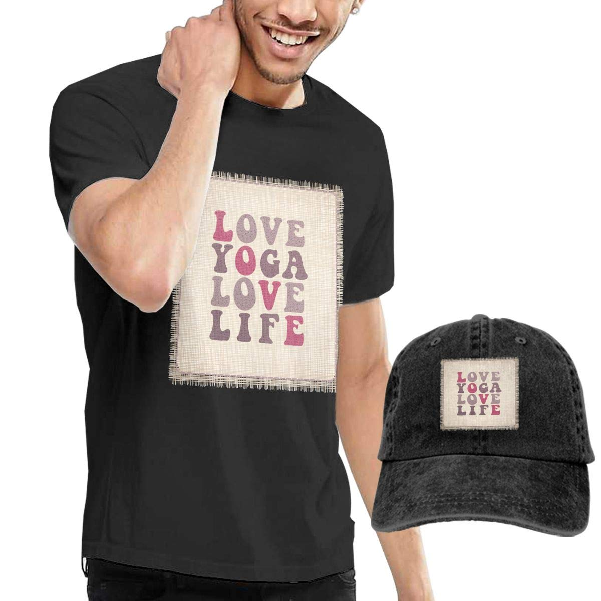 Mens Short Sleeves Yoga Life T-Shirt + Jeans Hats Combo Set ...