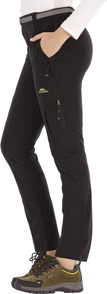 DAFENP Pantalones Trekking Mujer Impermeable Pantalones de Escalada Senderismo Alpinismo Ligero Secado Rápido Transpirable Aire Libre (L, B Negro)