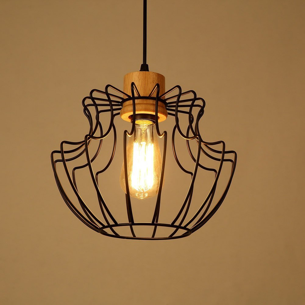Baycher American Village Single Head Iron Ceiling Pendant Light Vintage Retro Industry Mesh Cage Small Chandeliers E27 Decoration Restaurant Kitchen Bar Barn Pendant Lamp