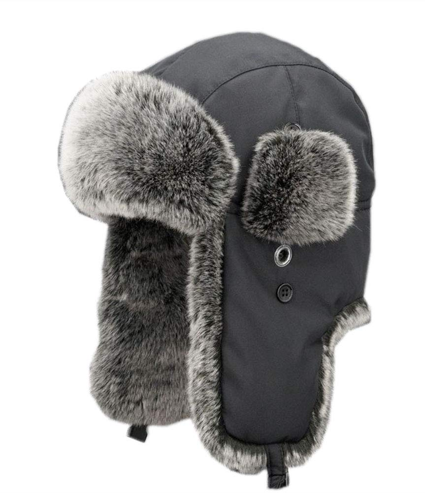 ONCEFIRST Unisex Winter Trapper Bomber Hat with Ear Flaps Russian Ushanka Black 1 XXL
