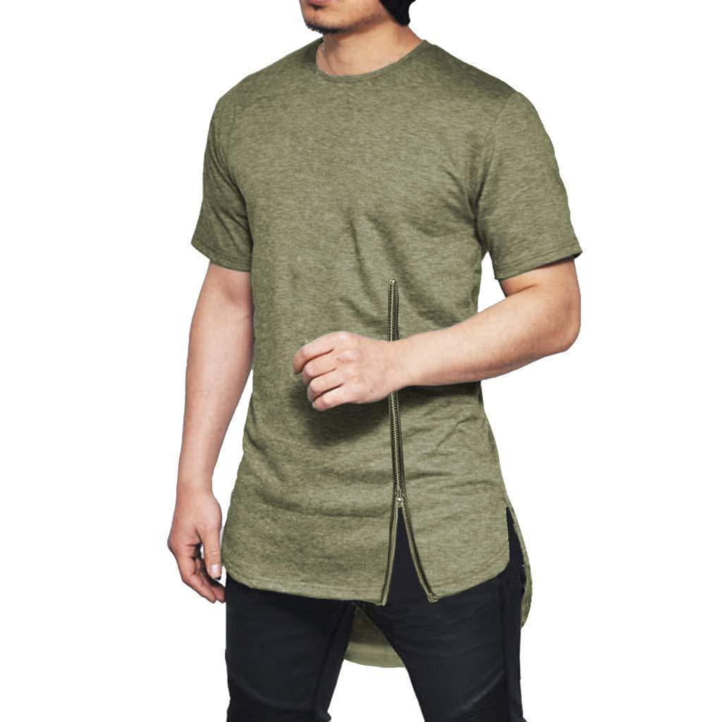 Side Split T-Shirt Mens Summer New Chest Zipper Short Sleeves Cotton Blouse Top