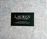 Lauren Ralph Lauren Bedding 4 Piece Cotton Queen Sheet Set Light Blue Gray White Pastel Paisley Pattern