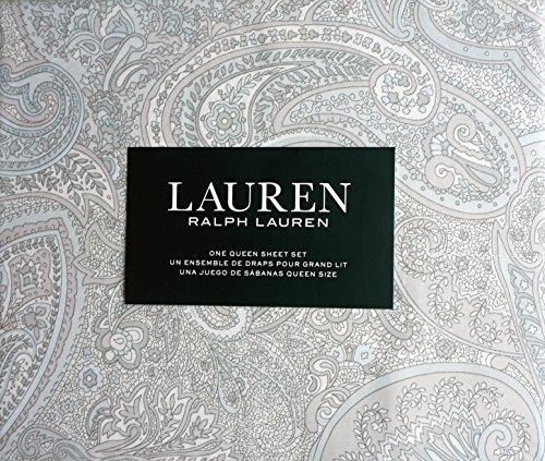 Lauren Ralph Lauren Bedding 4 Piece Cotton Queen Sheet Set Light Blue Gray White Pastel Paisley Pattern (Ralph Lauren Bedding Queen)