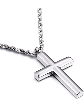 Mens Jewelry Pendant Necklace Gold Color Stainless Steel Cross Pendant Byzantine Necklace 18-30 Metal Color: Cross and 28in Chain