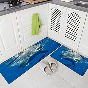 Doocilsh Kitchen Rugs,Kitchen Rugs Washable for Women and Men,17X48+17X24Inches Cage Diving with Great White Sharks in Mexico Kitchen Rug