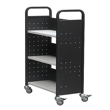 Heavy Duty Rolling libro camión sola cara 3 soporte de estantes biblioteca de utilidad libro carrito