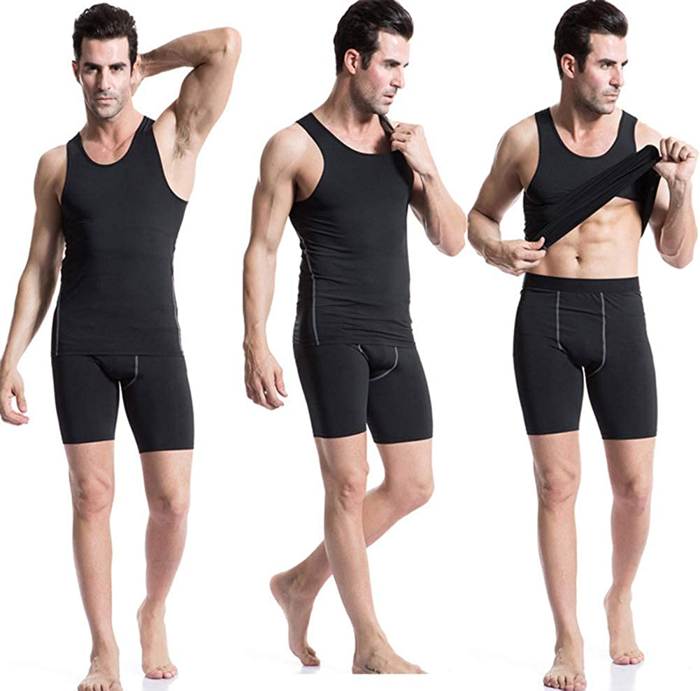 Mens 3 Pack Compression Tank Tops Sport Fitness Base Layer Sleeveless Shirt