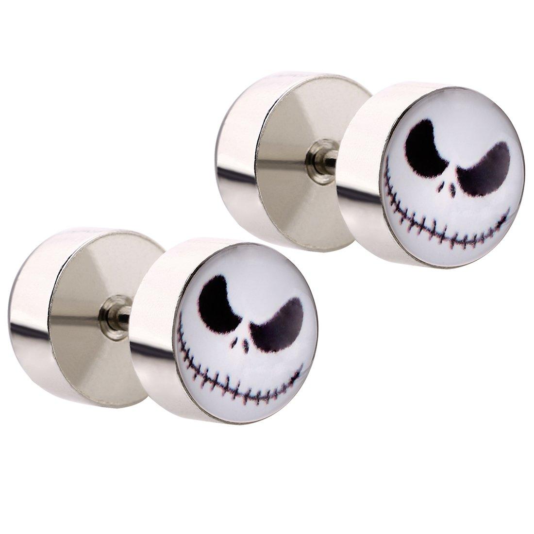 Mecoo 5 Pairs Hypoallergenic Medical Steel Piercing Jewelry Jack Logo Ear Piercing