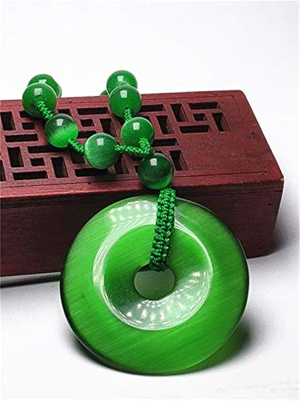 yigedan Natural Green Cats Eye Lucky Jewelry Gemstone Long Necklace
