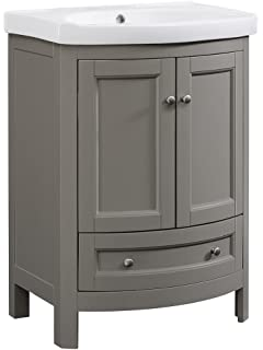 Attractive Runfine RFVA0069G 24.6 Inch Wide All Wood Modern Vanity With Vitreous China  Top, Gray