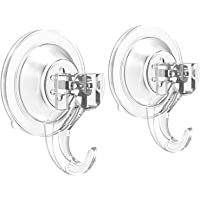 [2 Pack] Suction Cup Hooks,BOOTWO Powerful SuperLock Suction Hooks,Heavy Duty Vacuum Suction Shower Hooks,Wreath Hanger…