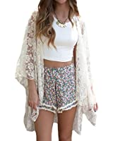 lemon Women's Lace Floral Kimono Cardigan Swimwear Cover Up Beachwear