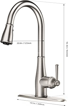Clofy Kitchen Sink Faucet in Brushed Nickel