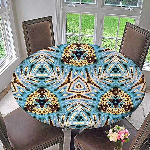 Mikihome Round Tablecloths Decor Tribal Stylized Trippy Shapes with Dirt Grungy Paint Reflections Artisan Print Blue or Everyday Dinner, Parties 67