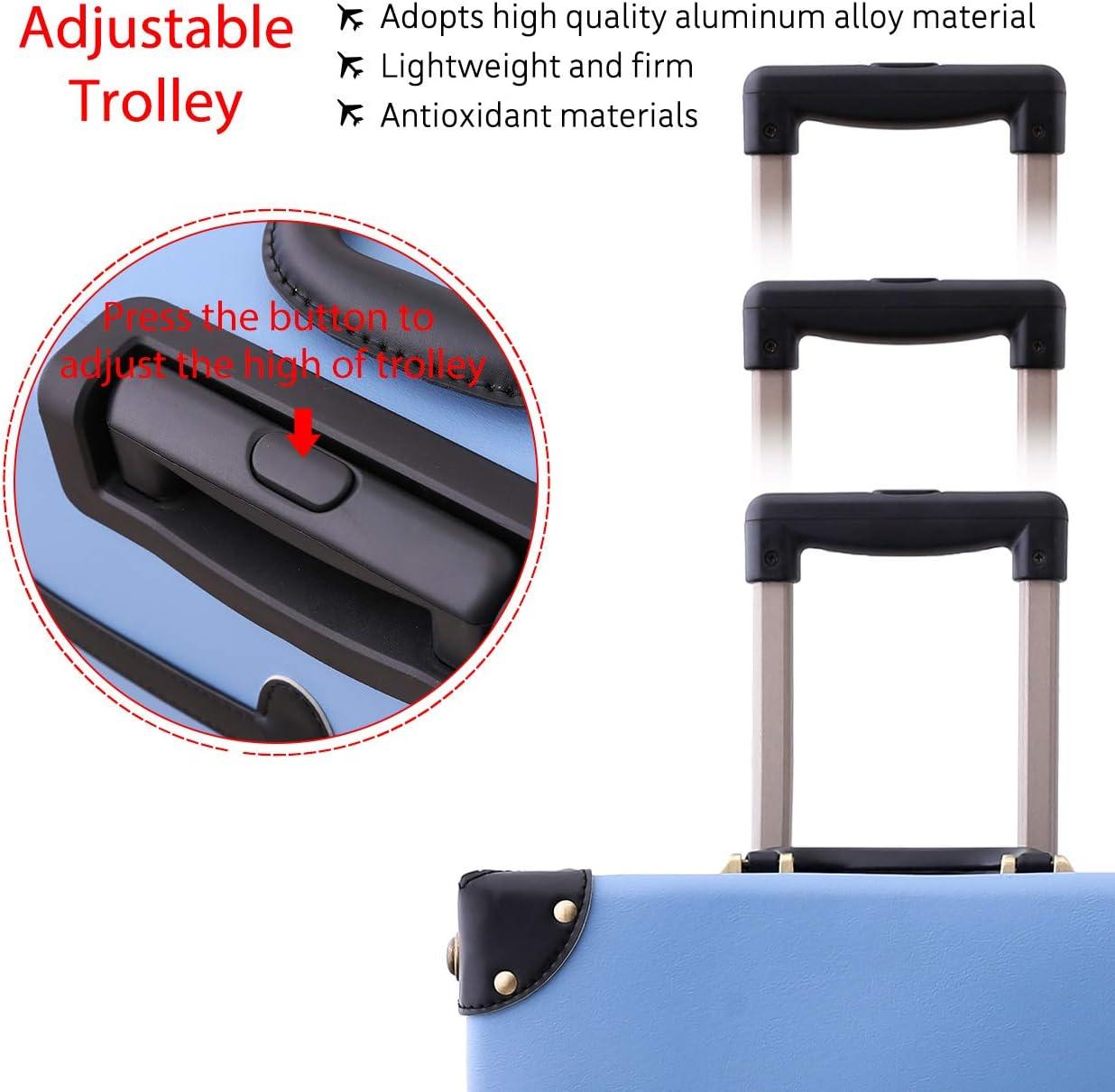 Pu Leather Vintage Luggage Trolley Suitcase for Girls Women Nakajima Blue 20