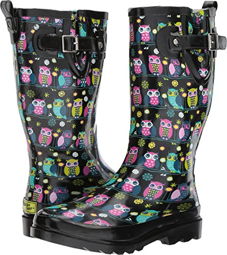 Western Chief Women's Owl Branch Black 6 B US (Rubber Western Boots)
