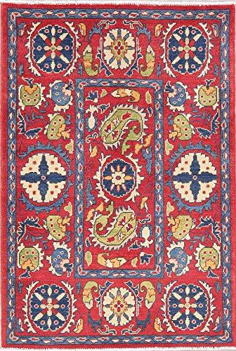 New Kazak Oriental Wool Carpet Hand-Knotted Persian Geometric Foyer Rug 3x5 RED (4' 11'' X 3' 5'')