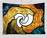 Ambesonne Trippy Decor Tapestry by, Pop Art Style Funky Unusual Stained Glass Window Thai Art Pattern Traditional Image, Wall Hanging for Bedroom Living Room Dorm, 80WX60L Inches, Multi