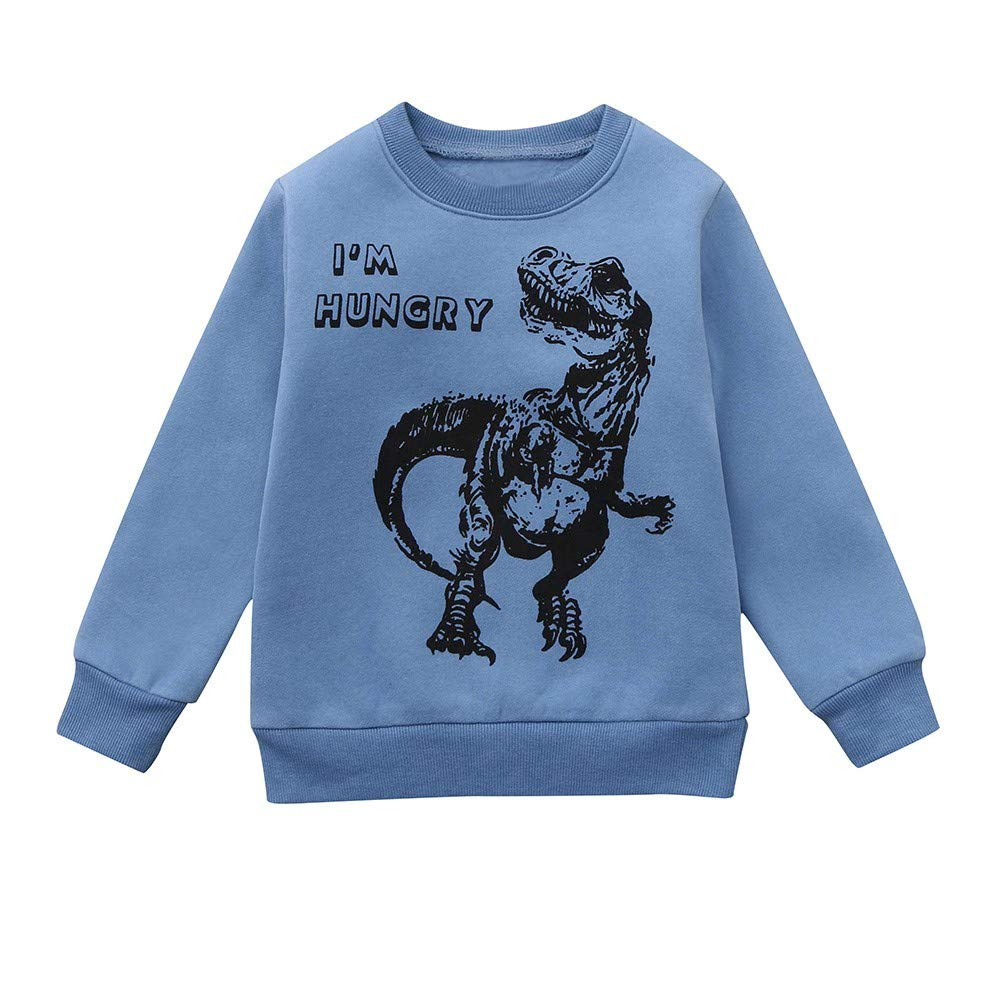 Children Kids Boys Dinosaur I'm Hungry Letter Print Warm Tops Sweatshirt Jumpers Pullover Tops Clothes