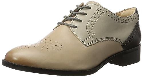 Clarks Hamble Oak, Zapatos de Cordones Brogue para Mujer, Beige (Nude Patent), 40 EU