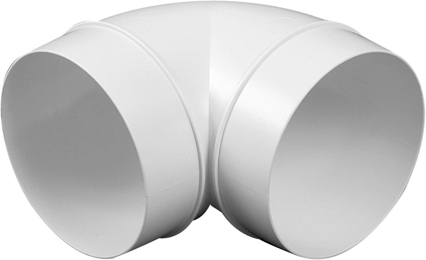 VONLIS® - Arco de tubo en ángulo de 90°, PVC, plástico, color blanco, tubo de ventilación, ventilación, campana extractora, diámetro 100 mm