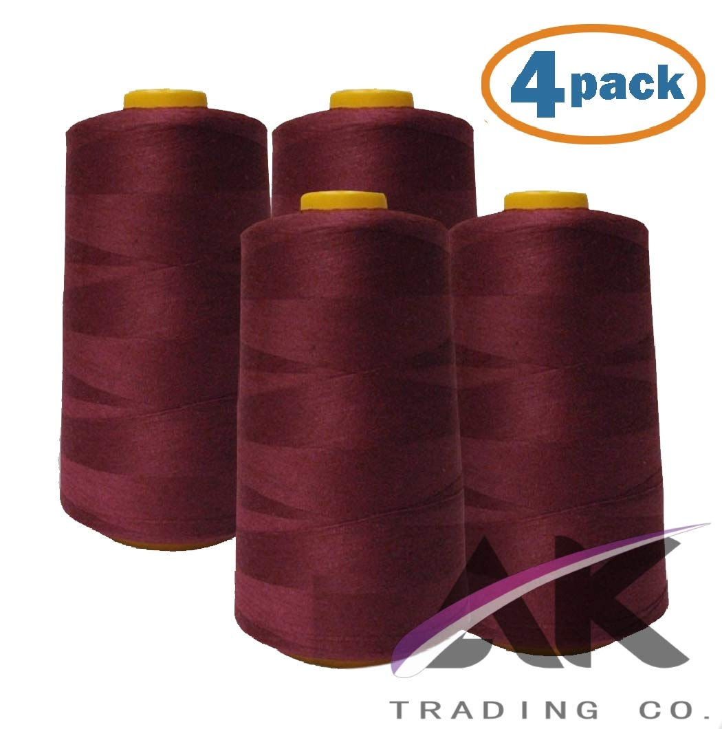 AK Trading 4-Pack Burgundy All Purpose Sewing Thread Cones (6000 Yards Each) of High Tensile Polyester Thread Spools for Sewing, Serger Machines, Quilting, Overlock, Merrow and Hand Embroidery by AK TRADING CO.