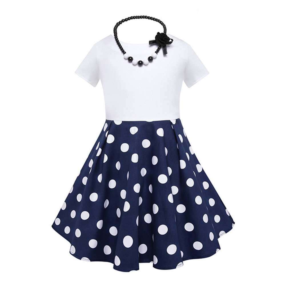 Amyove Girls Fashion Short Sleeve Dots Flower Print Princess Dress Swing Pleated Skirt (With Necklace)