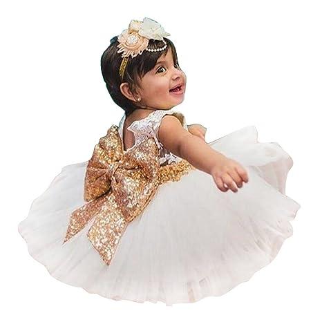 en venta en línea diseñador nuevo y usado gran surtido Niñas bowknot encaje Princesa Falda Summer Sequins Vestidos para Bebés  niños pequeños 0-5 años de edad blanco / 0-1years
