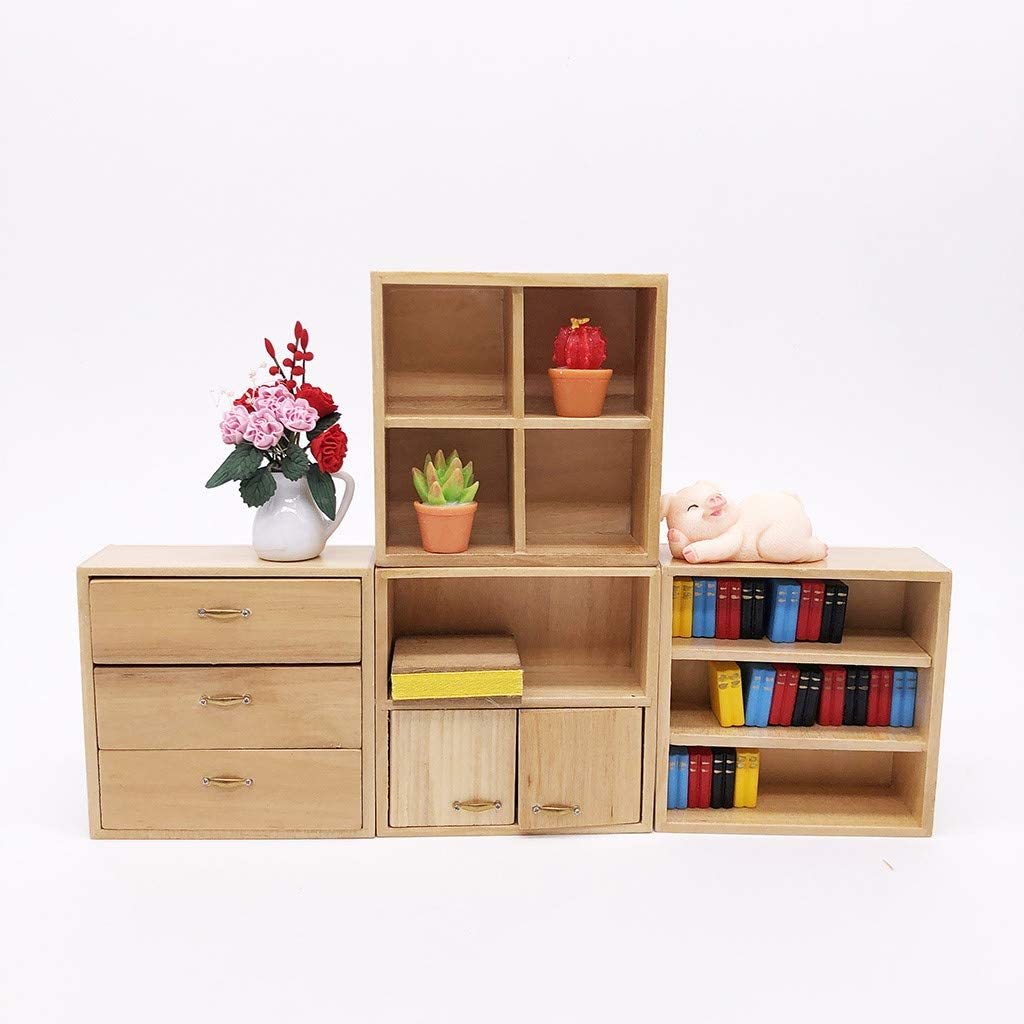 Hand Crafts Birthday Gift for Boy Girl Adult,DIY Your Own Doll House Binory 4pcs Mini Wooden Cabinet Miniature Life Play Scene Model for 1:12//1:6 Dollhouse Accessories and Living Room Furniture