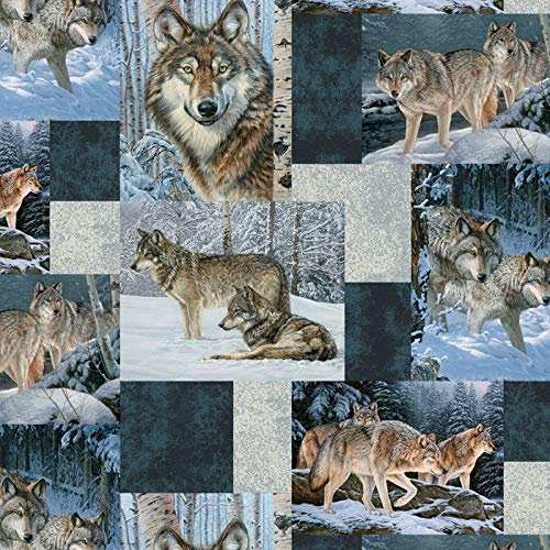 Wolf Wolves Patchwork in Blues Fleece Fabric by The Yard ()