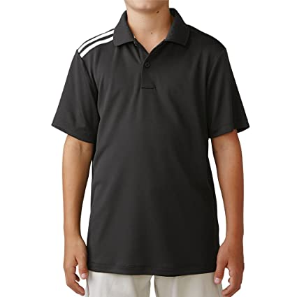 8ba043cc adidas 2016 Junior Climacool 3-Stripes Shoulder Kids Performance Golf Polo  Shirt Black/White