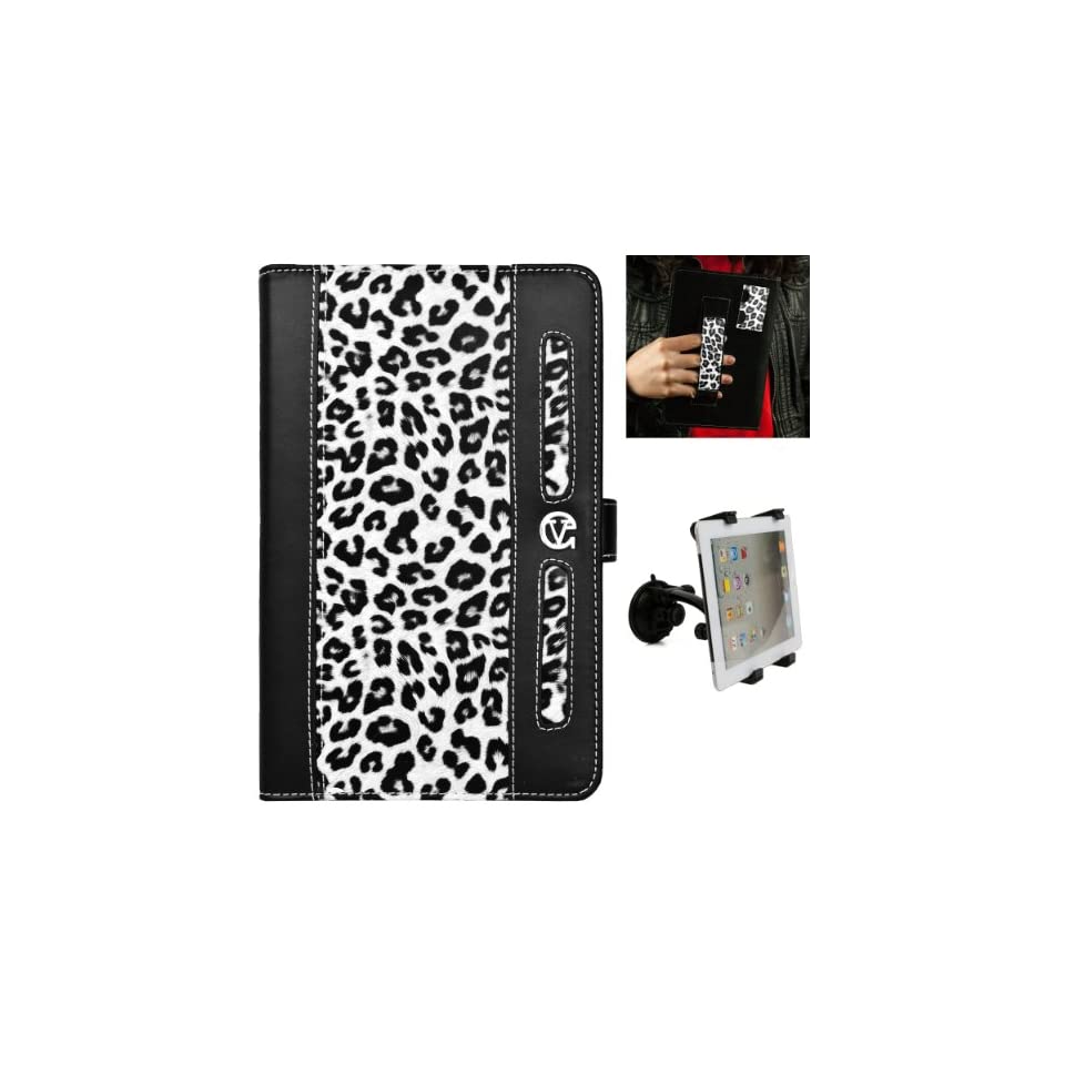 Black White Cheetah Design Dauphine Edition Protective Leather Case Cover for Visual Land Prestige 7 Internet Tablet (ME 107 8GB) + Universal Adjustable Windshield Mount for 7 10 inch Tablets Computers & Accessories