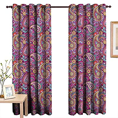 LewisColeridge Decor Curtains by Paisley,Classic Asian Style Motifs with Flowers Like Sun Leafs and Ornamental Shapes,Multi Colored,Wide Blackout Curtains, Keep Warm Draperies, Set of 2