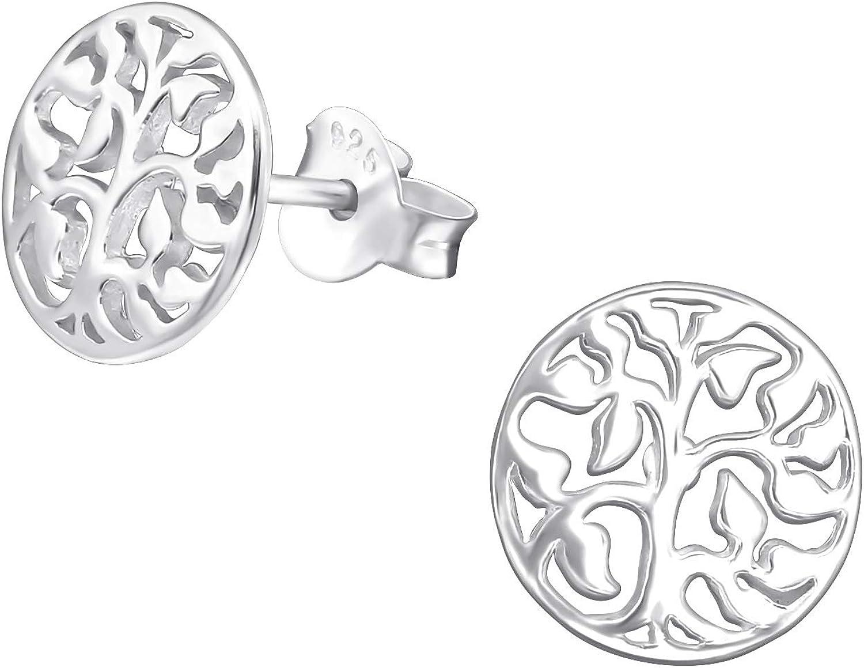 Laimons - Pendientes para mujer con diseño de árbol de la vida brillante, 9 mm, plata de ley 925