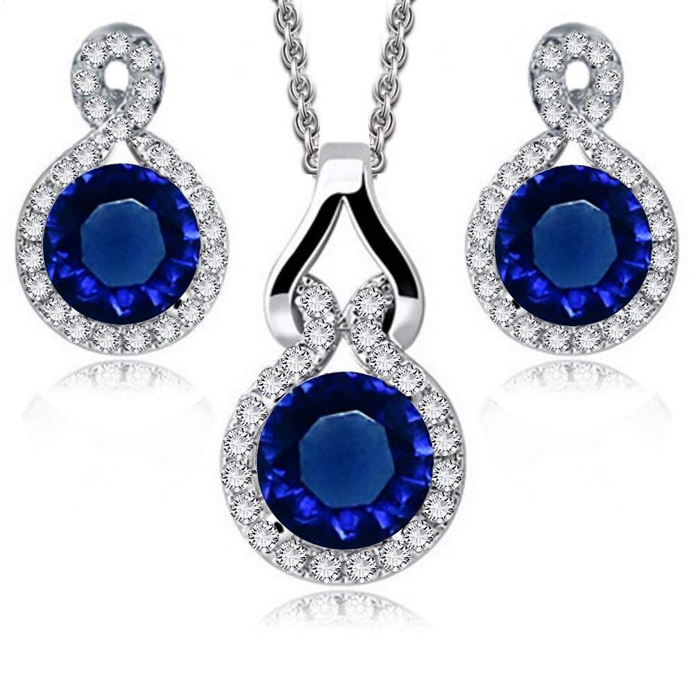 Round Blue Simulated Sapphire Zirconia Austrian Crystals Set Pendant Necklace 18 Earrings 18 ct White Gold Plated Crystalline CR-AZ-0439