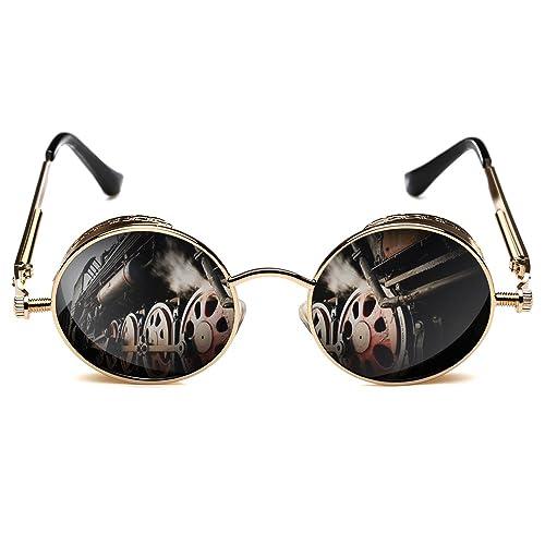 29b8599ff9d Rocknight Gothic Steampunk Polarized Full Metal Round Frame Sunglasses UV  Protection golden   grey  Amazon.ca  Jewelry
