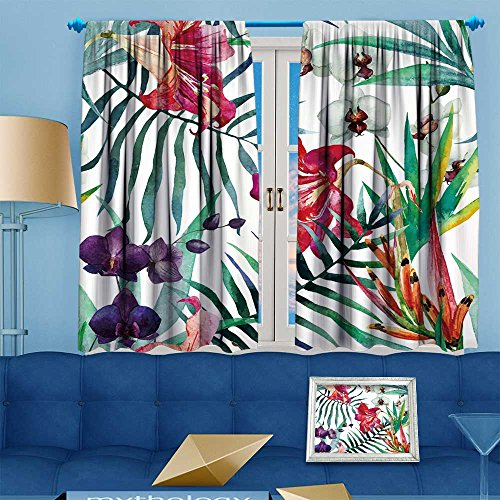 Muyindohome 2 Panel Curtains watercolor,tropical,pattern,wallpaper,background,birds of paradise,orchids Linen Window Curtains Grommet Top 72