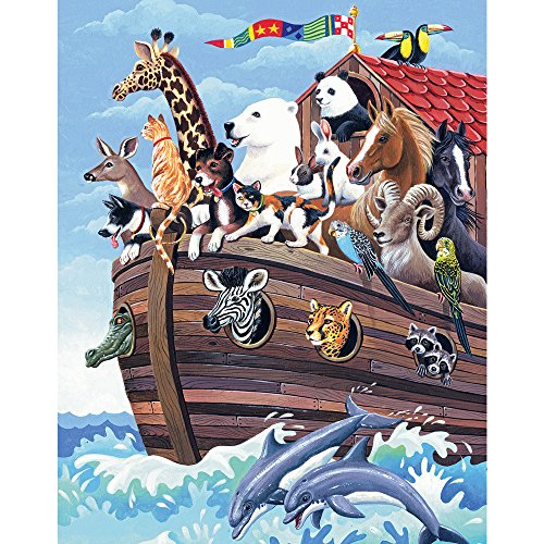 Bits and Pieces - 100 Piece Jigsaw Puzzle for Adults - Noah's Ark - 100 pc Boat and Animals Jigsaw by Artist Barbara Gibson