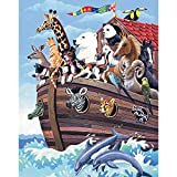Bits and Pieces - 200 Piece Jigsaw Puzzle for Adults - Noah's Ark - 200 pc Boat and Animals Jigsaw by Artist Barbara Gibson