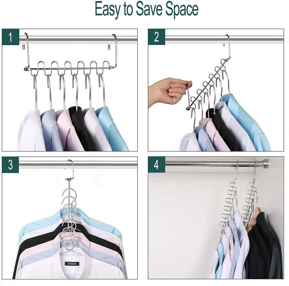 TOPmore Trousers Hangers 5 Layers Pants Hanger Space Saving Non Slip Clothes Hangers for Closet Storage Organizer Trouser Scarf Ties-2pcs Pants Hangers /& 2pcs Magic Clothes Hangers Pant Hangers-4pcs