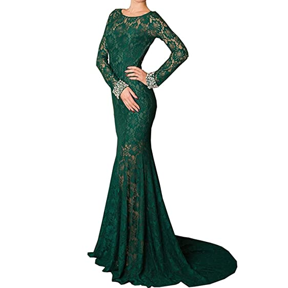 TAOST Emerald Green Mermaid Evening Dress Long Sleeve Lace Prom ...