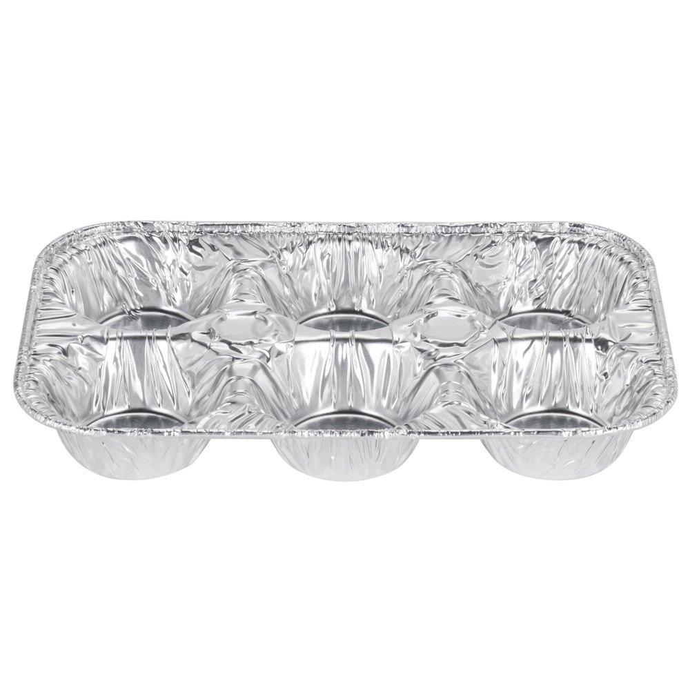 D&W Fine Pack E14 6 Cavity Foil Muffin Pan - 500/Case