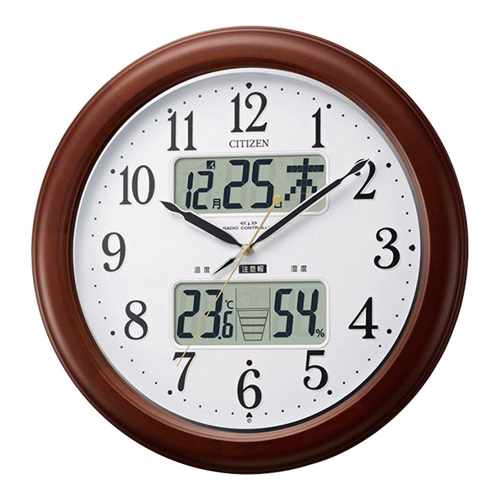 掛け時計 壁掛け時計 電波時計 大きいサイズ 大型 丸型 インテリア レトロ 北欧 掛時計 丸時計 とけい 温湿度計付き カレンダー付き 夜間自動点灯 B07DX2WPWZ